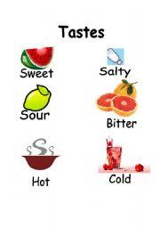 Vocabulary worksheets > Food > taste > Tastes