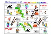 English Worksheet: What do you want to do - Snakes and ladders