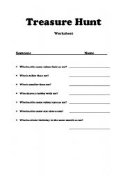English Worksheets: Getting to know your classmates