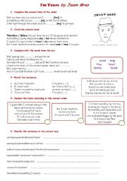 English Worksheet: Jason Mraz