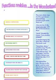 English Worksheets: Functions revision in the Wonderland 3�