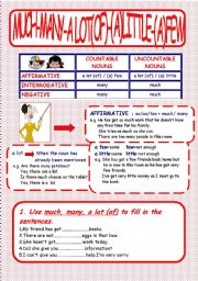 English Worksheet: Much-Many-A Lot (of)-(A)Few-(A) Little