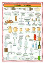 English Worksheet: Crockery-pictionary