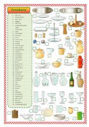 English Worksheet: Kitchen crockery- matching exercise