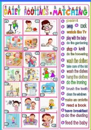English Worksheets: daily routines - matching