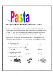 English Worksheets: pasta
