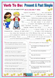 English worksheet: Verb To Be  -  Present  &  Past Simple  (am, is, are, was, were)