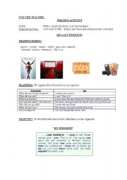 English Worksheets: writing activity-  My last weekend