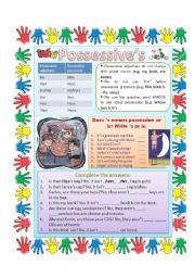 English Worksheet: Possessive pronouns and possessive adjectives.