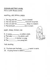 English Worksheets: ANIMALS AND THEIR YOUNG