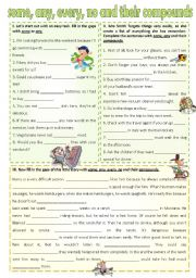 English Worksheet: Some, any, every, no and their compounds (editable) *edited version*