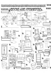 English Worksheet:  house and pieces of furniture