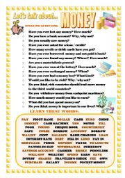 English Worksheets: LET�S TALK ABOUT MONEY (SPEAKING SERIES 22)