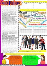 English Worksheet: Let´s talk about school uniforms