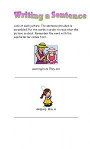 English Worksheets: Writing a Sentence Correctly