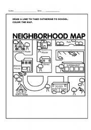 neighborhood map esl worksheet by lumanauarabrazil. Black Bedroom Furniture Sets. Home Design Ideas