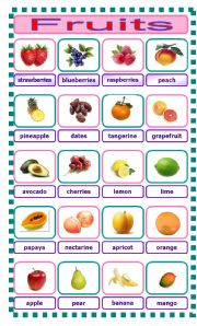 fruits pic and names