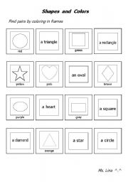 english worksheets shapes and colors. Black Bedroom Furniture Sets. Home Design Ideas