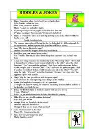 English Worksheets: riddles and jokes in english