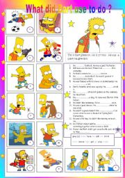 English Worksheets: What did Bart use to do  ?