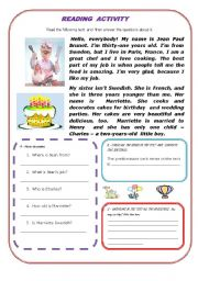 English Worksheet: READING ACTIVITY - A FRENCH CHEF