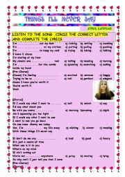 English Worksheets: SONG: THINGS I�LL NEVER SAY - Avril Lavigne