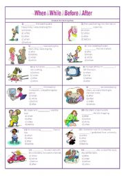 ... Worksheets: when / while / before / after - multiple choice test