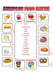 English Worksheet: AMERICAN FOOD MATCH