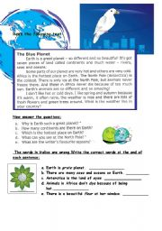 English Worksheets: The Blue Planet-reading comprehension