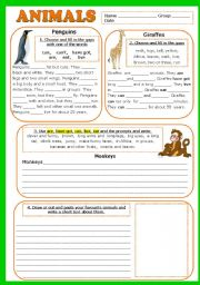 English Worksheet: ANIMALS. PROJECT + KEY (fully editable)