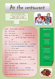 English Worksheet: At the restaurant + some, any, one