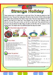 English Worksheets: Strange Holiday (B/W+Key)