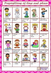 English Worksheets: PREPOSITIONS OF TIME AND PLACE