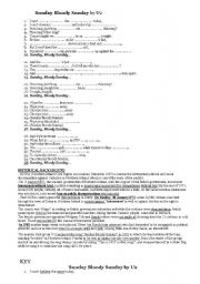 English Worksheets: Sunday Bloody Sunday by U2 lyrics (to fill in) and historical background. Key included.