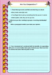 English Worksheets: Are you cooperative?
