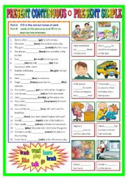 English Worksheet: Present Continuous and Present Simple (B/W & Keys)