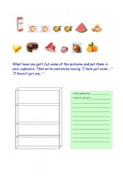 English Worksheet: Food vocabulary I�ve got some / I haven�t got any
