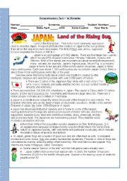 English Worksheet: Japan - the land of the rising sun