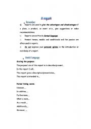 English Worksheets: A report