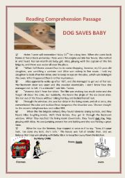 English Worksheet: Dog Saves Baby