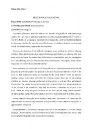 English Worksheets: textbook evaluation