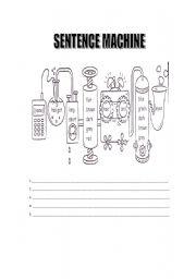 English Worksheet: SENTENCE MACHINE