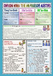 English Worksheet: CONFUSING WORDS - TO BE AND POSSESSIVE ADJECTIVES