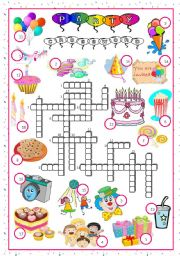 English Worksheet: party-crossword