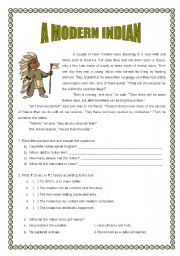 English Worksheets: A modern Indian ( 2 pages )