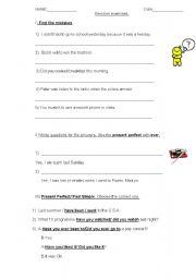 English Worksheet: Revision exercises