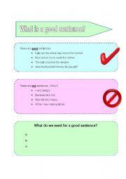 English Worksheets: Basic Sentence Structure