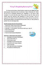English Worksheet: Going to Sengkaling Swimming Pool