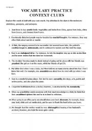 English Worksheet: VOCABULARY PRACTICE - CONTEXT CLUES