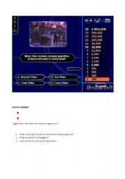 English Worksheet: Who wants to be a millionaire?